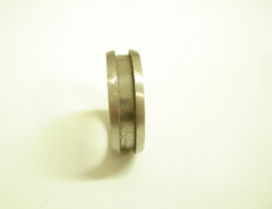 Photo of a 14 karat white gold wedding band.
