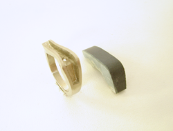 Photo shows the ring and the piece of rough Black Jade which I will use for the inlay.