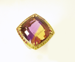 Another view of the Ametrine set in a ring.