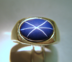 A photo of the same ring after re-polishing. The 6 ray star now looks great.